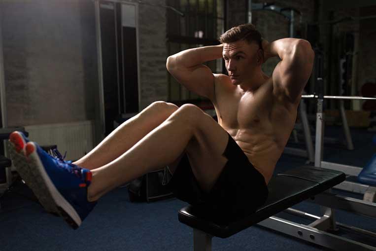 man doing sit ups