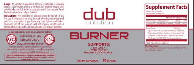 Dub Nutrition burner label