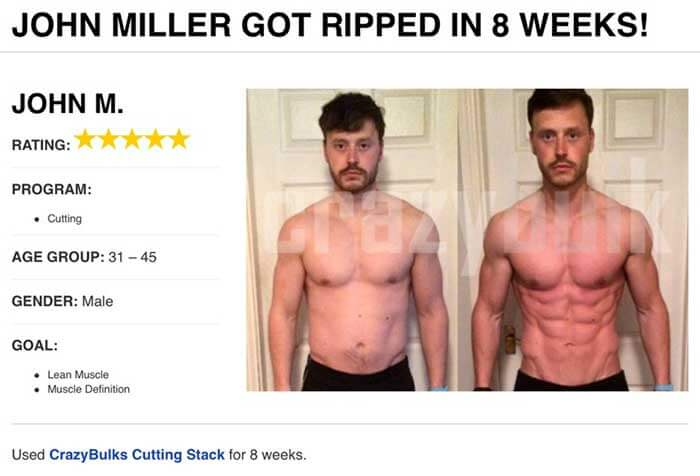 Crazy Bulk cutting stack results before and after