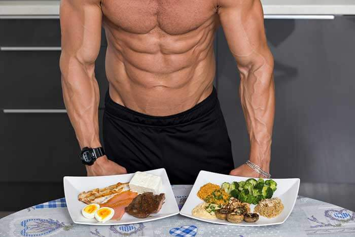 Man eating proteins post workout meal