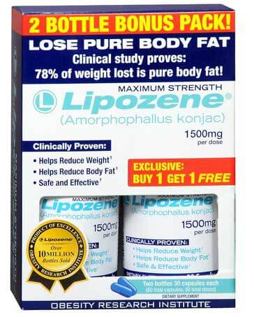 Lipozene with Konjac root in the packet