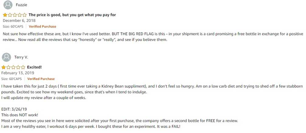 White kidney bean bad reviews