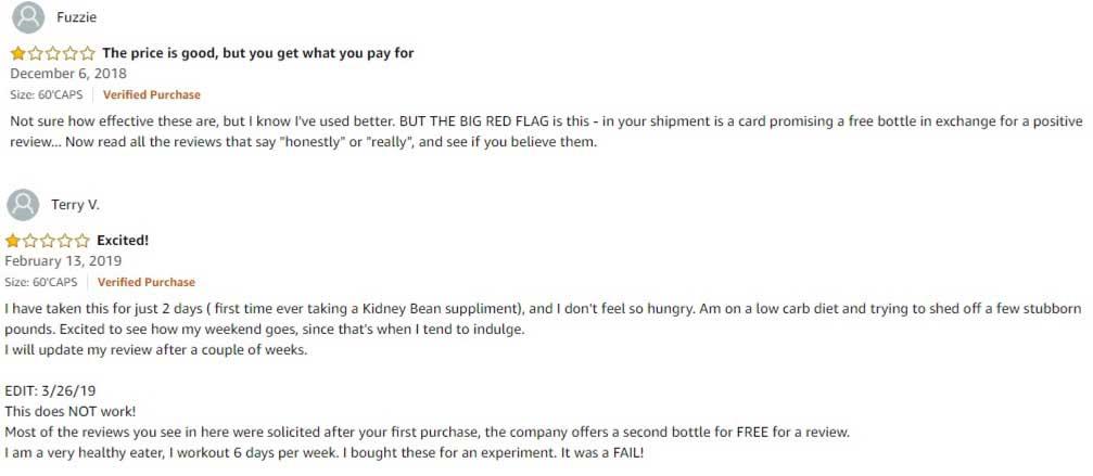 White kidney bean bad reviews
