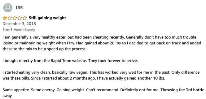 Negative Review for Rapid Tone