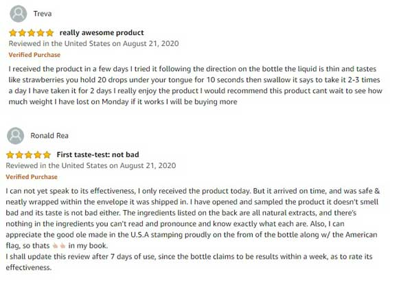 Naturelza positive reviews from customers
